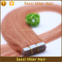 High feedback hot selling best quality virgin remy pink tape hair extensions