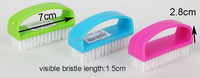 HQ2603 iron shaped PP plastic soft bristle green color scrub nail brush