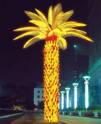 5m Height Yellow Outdoor LED Palm tree light