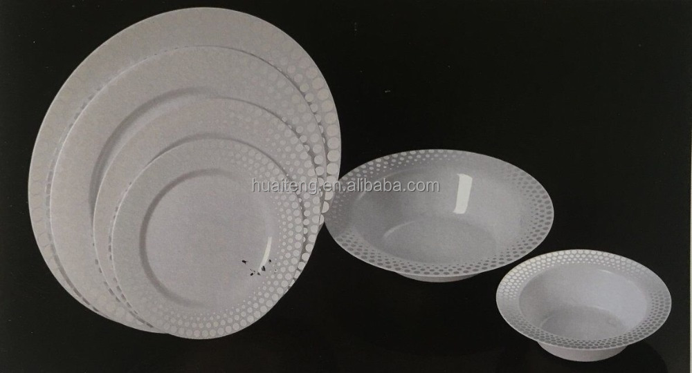 Disposable Round PS Plastic Dinner Plate with silver dots