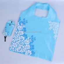 Nylon Blue Flower Reusable Folding Shopping Bag