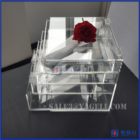 fancy desktop logo printed plexiglass cosmetic countertop acrylic cosmetic makeup organizer