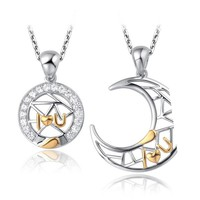 Jewelry Manufacturer China Popular Gold Plated Hollow Design Sun and Moon Shaped Lover Pendant Gifts for Newly Married Couple