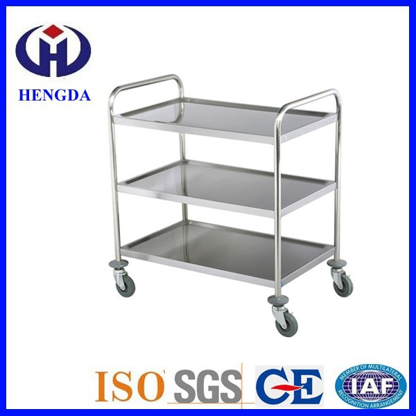 Hotel & Hospital 3 Layer Stainless Steel Dining Cart with Wheels