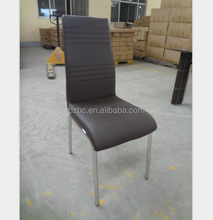Professional Custom Made Chrome Legs Black PU Dining Chair /Restaurant Chair Dining