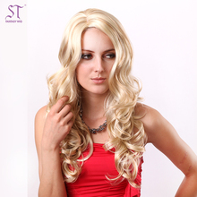 "Full Head Beyonce Blonde 23"" Long Water Wave Heat Resistant Synthetic Hair Wig For White Women With OEM Service"