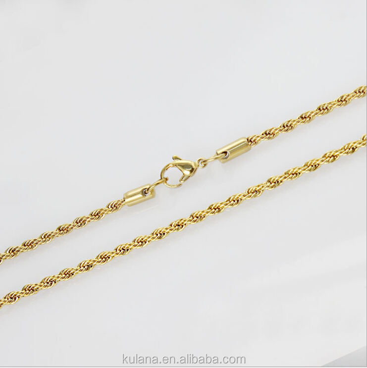 Stainless Steel Material Wholesale 24K Gold Filled Twisted Necklace Chain Sell By Meter,Jewelry Making Gold Chain