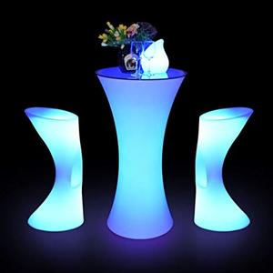 Cocktail table and chairs for Events Outdoor Lighting Bar Table / colour changing led glowing cocktail table