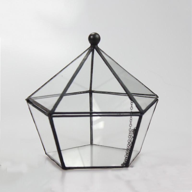 Five Face opening closed five angular geometry glass greenhouse flowers Garden Decor pots