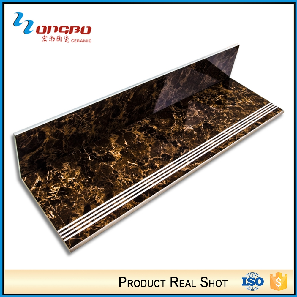 Chinese Factories Brown Polished Ceramic Porcelain Tile Stair Nosing