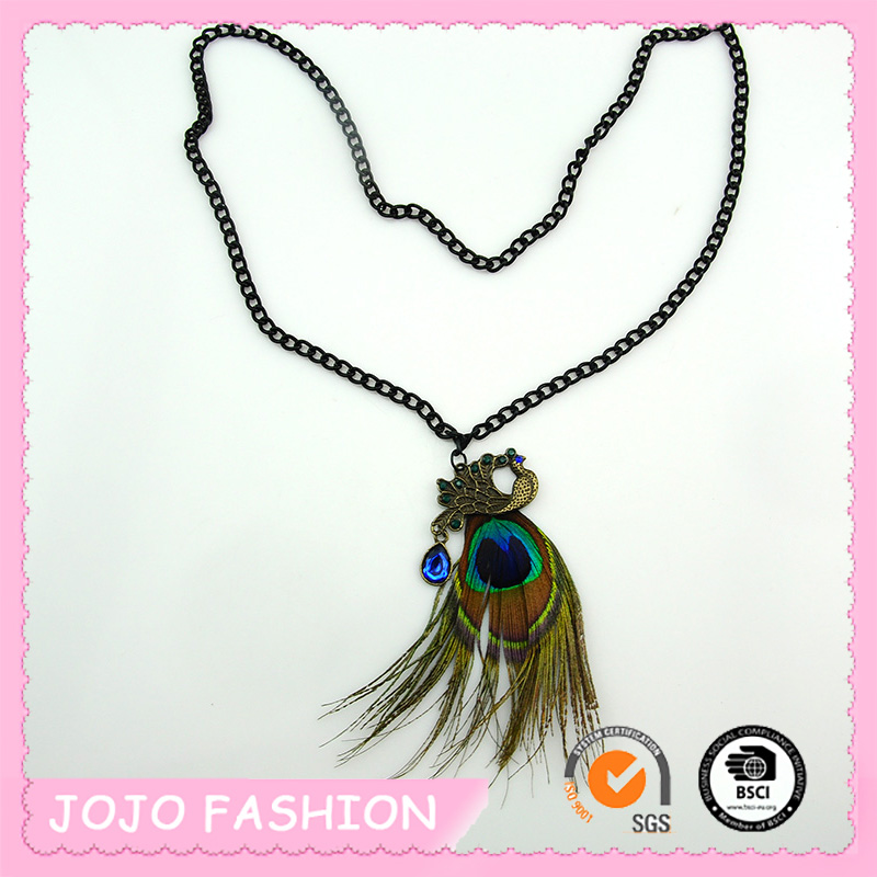 2015 Fashion Meaningful Peacock Design Feather Pendant Necklaces For Sale