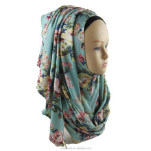 Fashion Wholesale Half Plain Half Printed Jersey Instant Shawl Hijab with 2 Slips