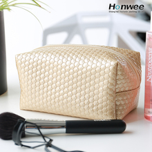 Bag manufacturer High quality golden square leather cosmetic makeup bag