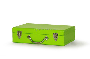 Functional colorful green rectangular customized metal storage trunk