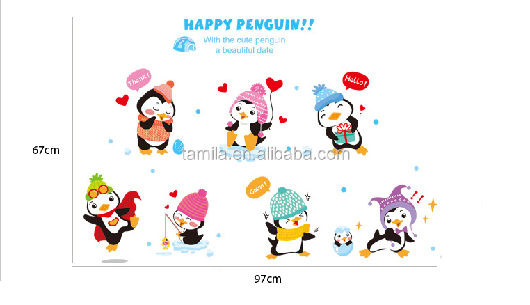 Christmas Tree Cartoon Penguin Wall Sticker Teachers Children Toy Stickers For Kids Room/Classroom Decoration