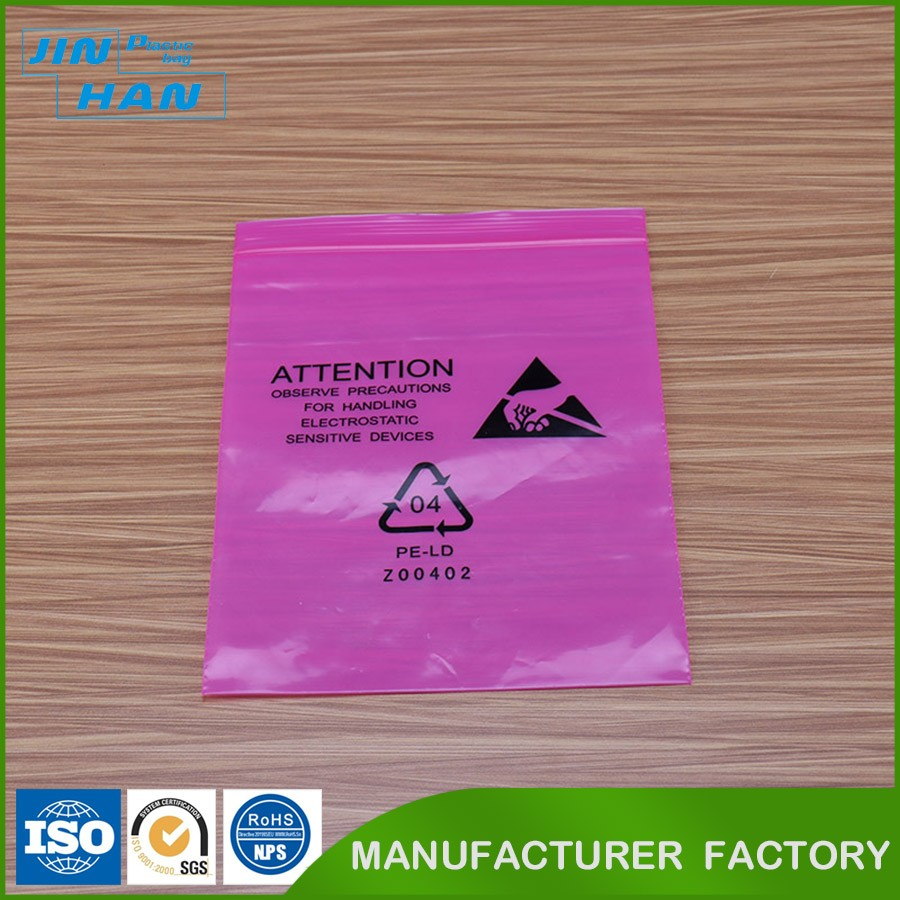 antistatic clothing plastic packing bag with ziplock