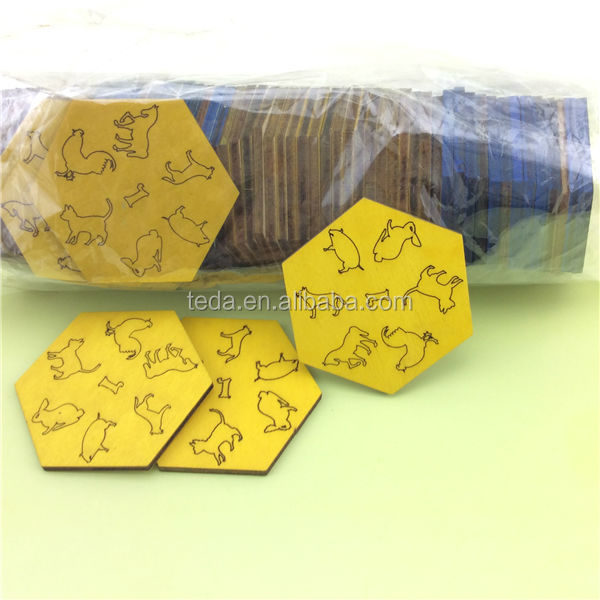 Animal pattern colorful wooden tag laser cut wood products