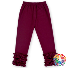 High Quality Burgundy Pants Baby Girls Cotton Ruffle Pants Formal Long Pants For Sale