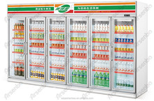 Luxurious Six door beverage display cooler/drinks display fridge/supermarket display refrigerator/upright freezer for grocery