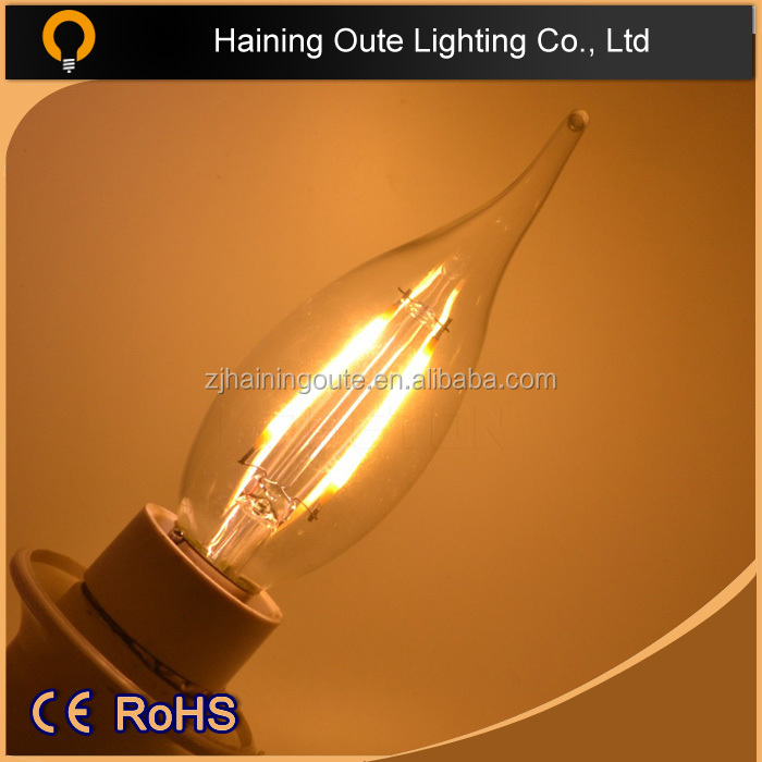 2015 hot sale C35 A60 led filament bulb 2W 4W 6W 8w high quality E27 E14 B22 dimmable led filament bulb lamp