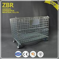 Wire decking mesh containers for small parts storage metal cages with wheels pallet basket