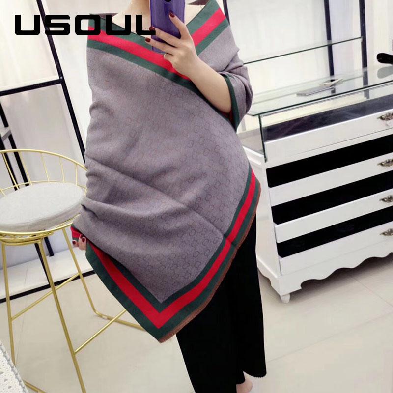 Factory Direct Sales Autumn And Winter Thick And Warm Big Imitation Cashmere Letters Print Scarf