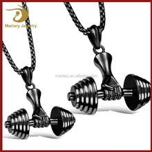 Best Selling 316L Stainless Steel Jewelry Sport Fitness Necklace Dumbbell Pendant