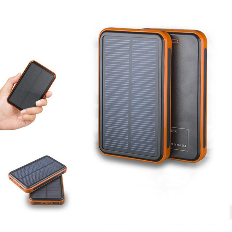 Hit!!!20000mAh Metal Solar Power Bank Slim External Battery Pack