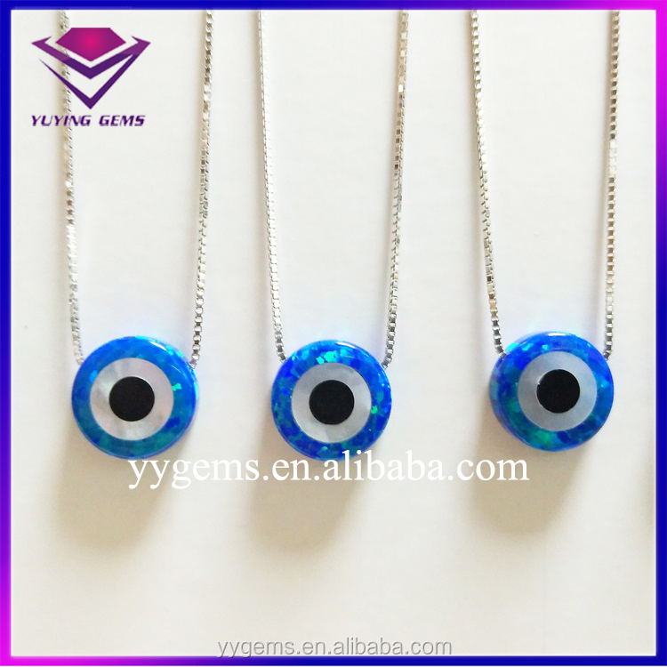 new designed big opal stone for wedding jewelry mood raw sapphire blue evil eye charm 925 sterling silver pendant