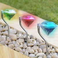 2016 Stainless Steel Outdoor Diamond Shape Decoration LED Ultra Bright Solar Decorative Lights for Garden