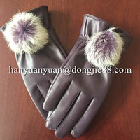 promote sale by leather boxing Faux Fur women motorcycle gloves