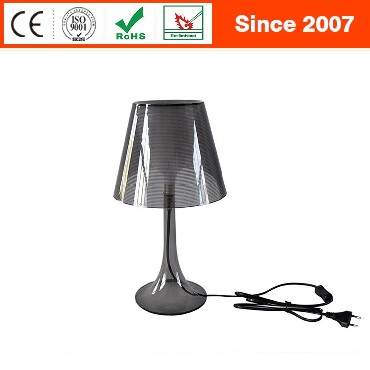 Simple popular grey plastic acrylic kids bedside reading table desk lamp