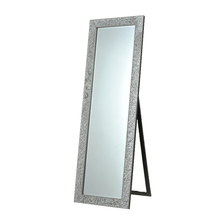 framed floor stand dressing room mirror with bevel