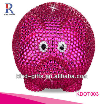 Hot Sale Christmas Gift Bling Rhinestone Giant Piggy Bank With Crystal China Supplier