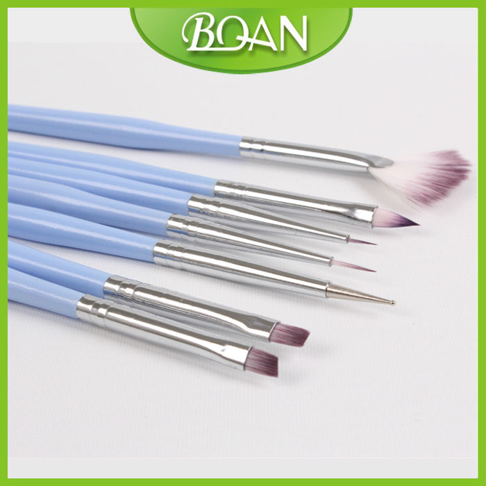 Factory Wholesale Blue Wooden Handle Cheap Nail Brush Set For Nail Design