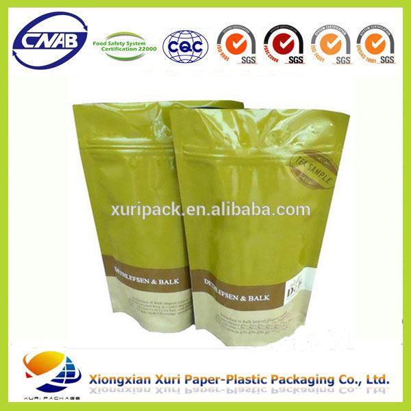 Coffee bean/tea packaging bags with ziplock and valve