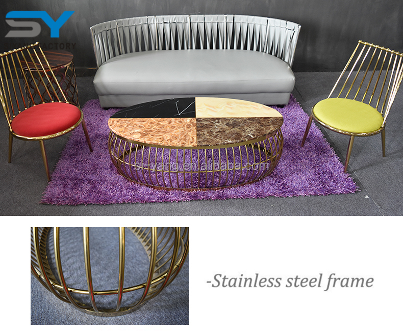 Luxury gold stainless steel lift top coffee table set german style coffee table with marble top CJ025