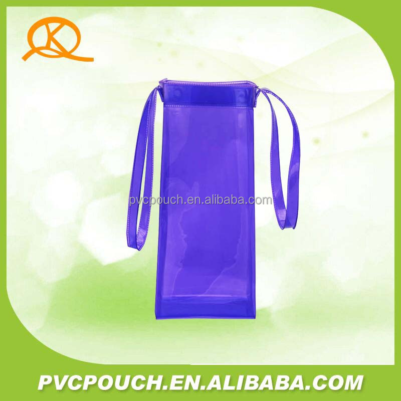 Promotional logo printed PVC cooler wine plastic multicolor handle bag