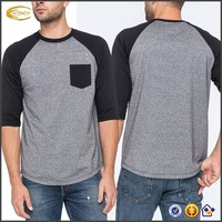 Ecoach 2016 Wholesale OEM Crew Neck Patch Chest Pocket Half Sleeve Curved Hem Shirt For Men's Wear
