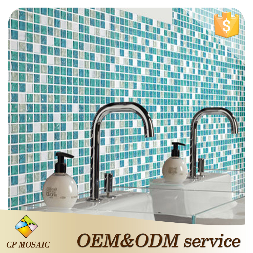 Manufacture crystal glass mosaic wall decoration crystal glass white stone shower floor mesh backed mosaic tile