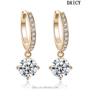 DAICY cheap wholesale fashion gold zircon hoop earrings women