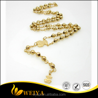 316L stainless steel necklace for lord prayers rosary gold cross beads necklace women