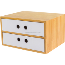 Wholesale Home office decor Desk bamboo wooden Storage Boxes with 2 layer drawers cosmetic organizer
