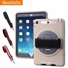 Hot Product 360 Degree Rotating hand strap smart case for ipad mini 2 case shoulder strap
