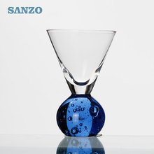 Hot sale lead free colored stemless martini glass with ball bottom