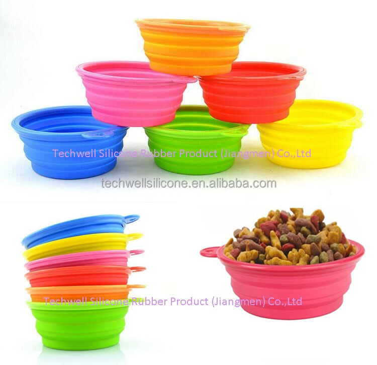 380ML food and water pet bowl silicone foldable pet bowl