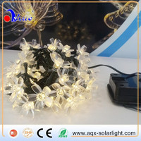 home string light with solar power, 50LED with flower, warm white color