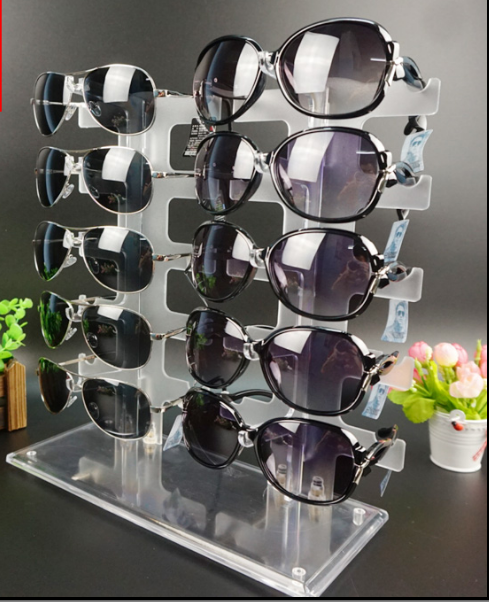 Transparent sunglasses display stands acrylic for <strong>showing</strong> 10pcs sunglasses