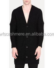loose fit long cardigan black men's sweater 100% cashmere sweater