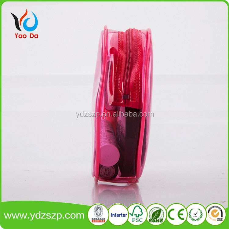 Hot sell red round plastic cosmetic bag